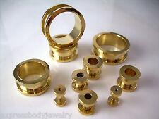 1 PAIR Gold Color Anodized Titanium Screws Fit Flesh Ear Plugs Tunnels Gauges