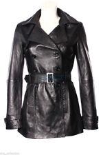 Grace Black Donna Woman's Fashion Designer al ginocchio slim fit Giacca in Pelle