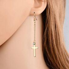 Men Women Stainless Steel Cross Dangle Drop Long CZ Earrings Silver Gold  E25