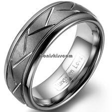 8mm Matte Tungsten Carbide Ring Dark Gray Zig Zag Grooves Mens Dome Wedding Band