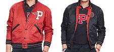 $550 Polo Ralph Lauren Mens Reversible Red Black Leather Bomber Jacket Coat New