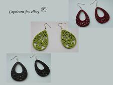 wooden earings maroon black green drop openwork