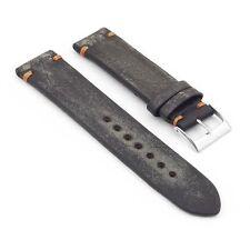 StrapsCo Vintage Faded Distressed Black w/ Orange Hand Stitching Watch Strap