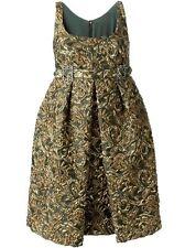 $3995 New DOLCE & GABBANA Green Gold BROCADE Jacquard w crystals Dress 42