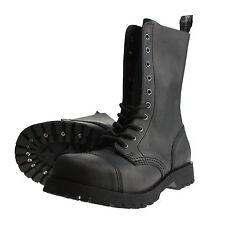 Boots and Braces 10-Loch Crazy Horse Cuero Nobus Opaco Negro Botas Capa Acero