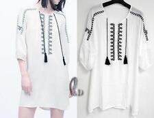 AU SELLER BOHO Soft Chiffon Embroidery Tunic Kaftan Top/Beach Cover Up sw067