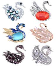 Fashion Abalone Shell Crystal Swan Bird Animal Wings Rhinestone Pin Brooch Jewel