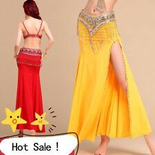 AU Sexy Slits Skirt Women Belly Dance Skirt Costume Beads Side Dress full skirt