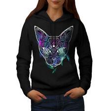 Wellcoda Mystic Cosmos Animal Cat Womens Hoodie, Cute Casual Hooded Sweatshirt