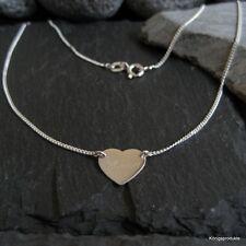 1,1 cm Herz Gravurplatte Halskette in 925er Silber, Gravur Namenskette, GK95/11