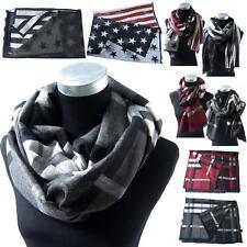 Bufanda Hombres Mujeres winter Reversible Diseño de rombos Estrellas Rayas tv29