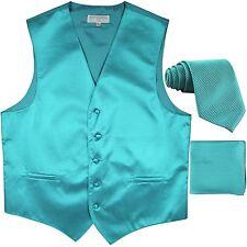 New men's tuxedo vest waistcoat & neck tie set horizontal stripes turquoise blue