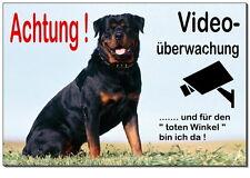 Rottweiler-Hund-Alu-Schild-0,5-3mm dick-Türschild-Alarm-Video-Warnschild-Hinweis
