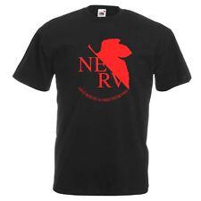 Mens Neon Genesis Evangelion NERV Logo Black Anime T Shirt