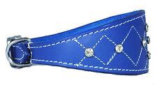 Cuir bleu foncé col col Whippet Greyhound strass cross stitch design