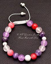 Chakra Gem Crystal Bead Bracelet Silver Amethyst Rose Quartz Purple Chalchedony