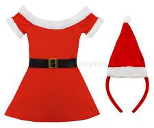 MISS SANTA COSTUME LADIES FATHER CHRISTMAS FANCY DRESS PLUS MINI SANTA HAT