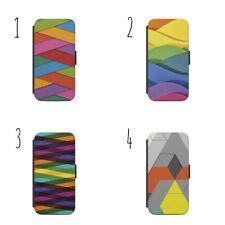 Colore DI SFONDO MOTIVO WALLET FLIP CUSTODIA COVER IPhone Samsung