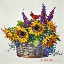 Cardinal Art Tile Backsplash Senkarik Floral Ceramic Mural MSA213
