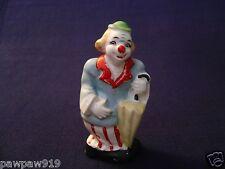 "Circus Clown Figurine Ceramic Japan Sticker Vintage Cold Paint 4 1/2"" Tall"