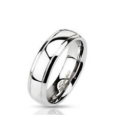 Herren Damen Ring Klassisch aus Edelstahl Hochglanzpoliert Band Ring