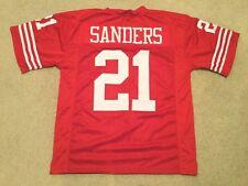 UNSIGNED CUSTOM Sewn Stitched Deion Sanders Red Jersey - M, L, XL, 2XL