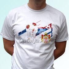 Serbia Fútbol Bandera Camiseta Blanco Diseño Etiqueta De Fútbol Copa Del Mundo Top Camiseta todos los tamaños