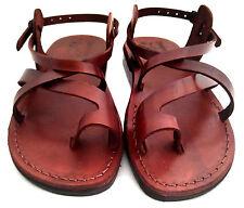 Brown Leather Roman Gladiator Jesus Sandals Strap Handmade UK (4-11) EU(36-46)