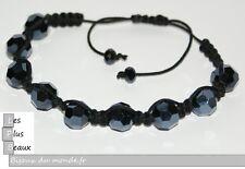 Bracelet STYLE SHAMBALLA Crista NOIR Boule DISCO & macramé NEUF