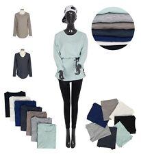 Stylish Women Lady Cotton Crew V-Neck Long Sleeve Comfy T-Shirts Korea Fashion