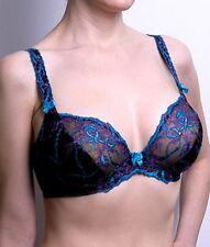 Alegro BLACK/LAVENDER/TURQUIOSE Underwire Lace Bra $49.00 Retail (Larger Sizes)