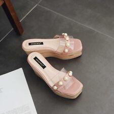 Sandali eleganti sabot zeppa ciabatte 9 rosa comodi simil pelle colorati 9828