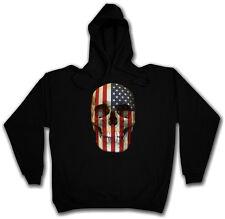 American SKULL FLAG HOODED SWEAT-con cappuccio Pullover Hoodie-USA Stars & Stripes
