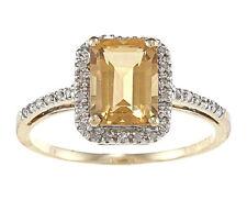 10 Quilates Oro Amarillo Corte Esmeralda Citrino y Diamante Anillo (1/5 Patron)
