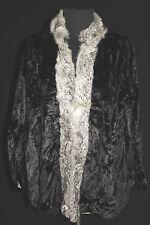 FRENCH VINTAGE 1920'S BLACK VELVET CRUSHED RABBIT FUR TRIMMED JACKET SIZE 40-42