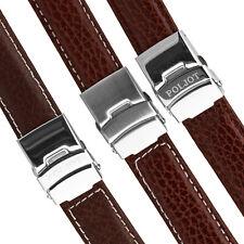 POLJOT BÜFFELLEDERBANDArmband 20mm braun Seitendrücker Faltschließe Uhrarmband