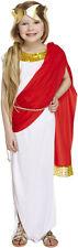Costume Ragazze romano Regina DEA Bianco Toga con Scialle ROSSO GRECO