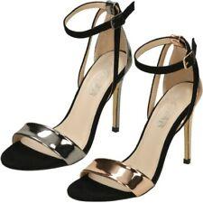 Spot On da donna Nere Scarpe con cinturino alla Caviglia Stile f9750