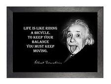 Albert Einstein Vida Negro Blanco inspiración cita graciosa Póster Foto Nobel
