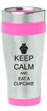Stainless Steel Insulated 16oz Travel Mug Coffee Cup Keep Calm Eat A Cupcake