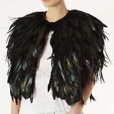 Womens Faux Peacock Feather Cape Jacket Nightclub Jackets Clubwear Outerwear