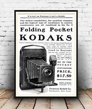 Folding Pocket Kodak Camera, Vintage advertising Reproduction poster, Wall art.