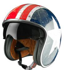 Casco moto tipo custom, cafe racer, estilo capitan america con estrella,24 horas