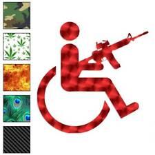 Handicap Gun Wheelchair Decal Sticker Choose Pattern + Size #3134