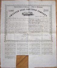 1856 Mining Bond Certificate: 'Swanton Coal & Iron Co.' - Baltimore, Maryland MD