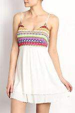 LESHOP Colorful Stitch Spaghetti Strap Summer Beach Party Dress - S, M, L