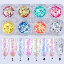 ROUND GLITTER NAIL SEQUINS Transparent Mermaid Effect Aurora Paillette Confetti