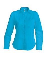 Chemise femme manches longues turquoise Kariban - K549