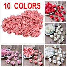 100 x Mini Foam Artificial Rose Flower Heads Wedding Party Decor Bouquet Bulk