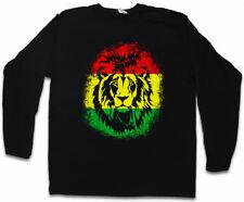 RASTAFARI LION II LONG SLEEVE T-SHIRT Bob Reggae Music Marley Haile Selassie